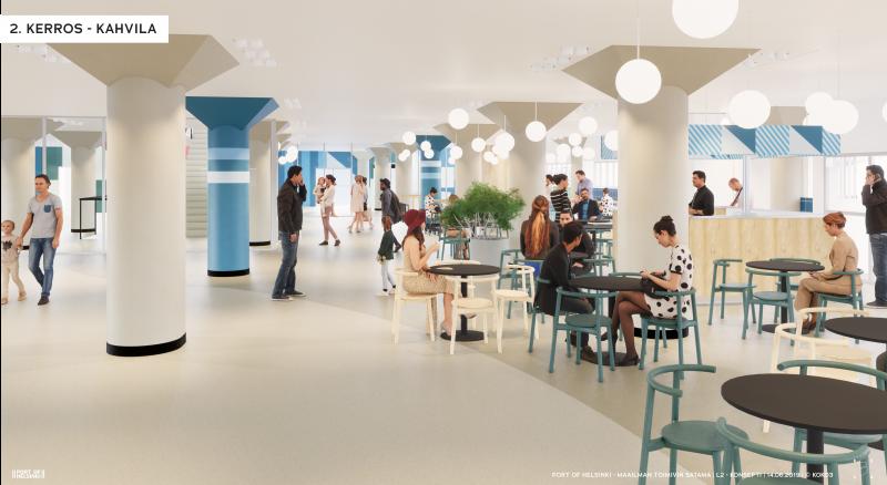Havainnekuva Katajanokan terminaalin uudesta kahvilasta